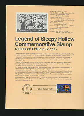 Halloween Sleepy Hollow (Legend of Sleepy Hollow 1974 USPS First Day Cancelled  Souvenir Page)