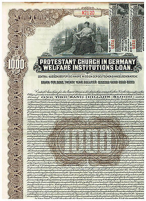 Protestant Church in Germany, 1926, 1000$ Gold Bond, braun