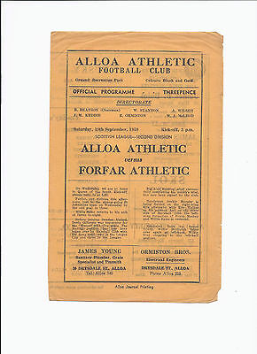 Alloa Athletic v Forfar Athletic 19 September 1959 Four Page 2nd Division