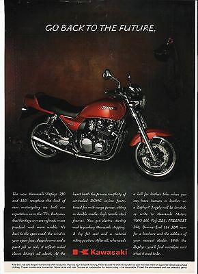 Kawasaki Zephyr 750 classic period motorcycle advert 1991