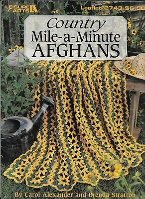 USED COUNTRY MILE A MINUTE AFGHANS 9 DESIGNS CROCHET PATTERN BOOK HTF Mile A Minute Crochet