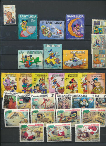 DISNEY Mint NH Mini Stamp Collection 30 Different Mickey, Goofy, Pluto, Walt