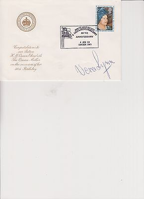 VERA LYNN SIGNED QUEEN MOTHER 80TH.BIRTHDAY LORD ROBERTS WORK SHOPS
