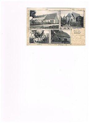 Gruß aus Reichenau bei Sorau in der Neumark - Schule u. Bäckerei - gelaufen 1904