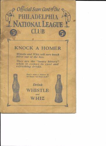 1927 Philadelphia Phillies-Braves Program Fournier Paces Braves Attack July 4!!
