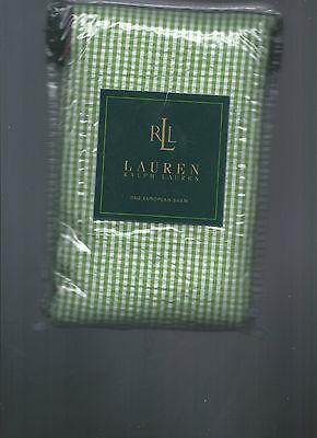 Ralph Lauren Watermill Green White Pink Checked Gingham Euro Sham New