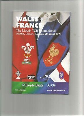 Wales v France Rugby Programme 5th April 1998