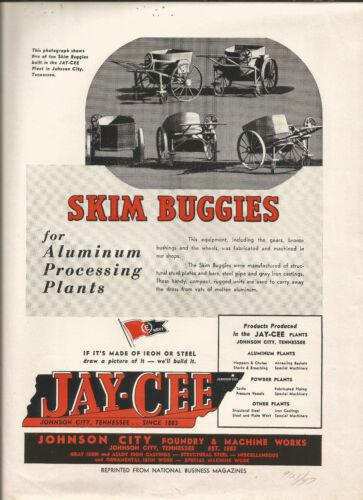 Magazine Ad-JAY CEE Skim Buggies,Johnson City Foundry & Machine,TN.1947 aluminum
