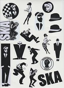 Ska 2 Tone Exterior Vinyl Stickers Decals 17 Designs & Sizes A4 Sheet Specials