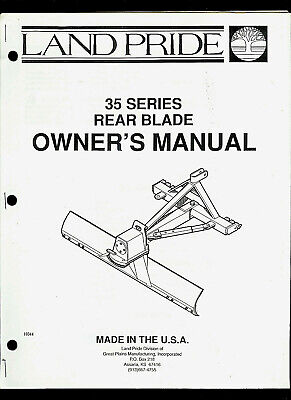 Land Pride 35 Series Rear Blade Illustrated Parts List Owners Manual