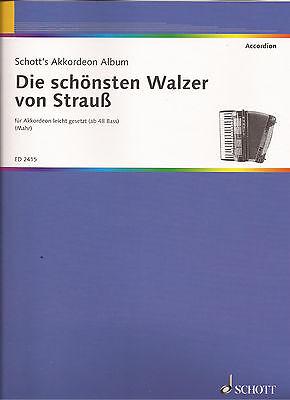Akkordeon Noten - DIE SCHÖNSTEN WALZER VON STRAUSS - leicht gesetzt ab 48 Bass