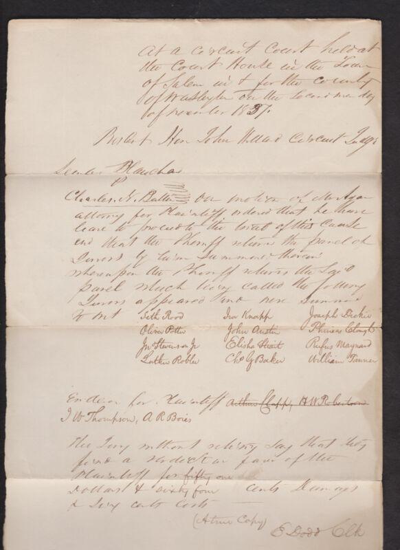 1837 New York court document SIGNED by Congressman Edward Dodd * Salem * Willard