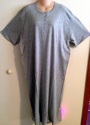 HEATHER GRAY HENLEY LONG COTTON NIGHTSHIRT O/S FITS S-XLGE ()
