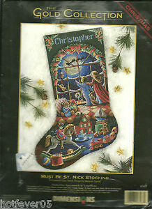 DIMENSIONS GOLD MUST BE ST.NICK STOCKING Counted Kit Sealed,Children,Toys