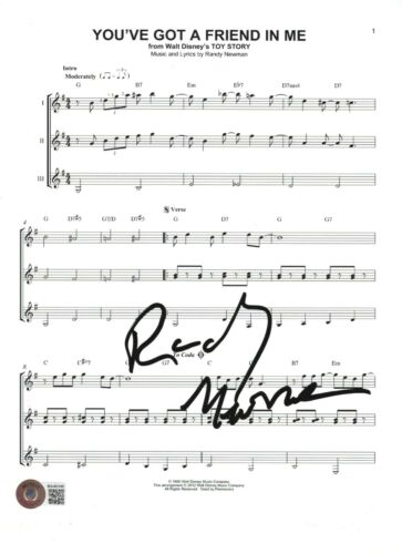 RANDY NEWMAN SIGNED TOY STORY 'YOU'VE GOT A FRIEND' 8.5x11 SHEET MUSIC PAGE BAS