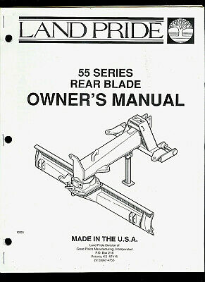 Land Pride 55 Series Rear Blade Illustrated Parts List Owners Manual
