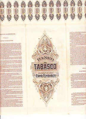 MEXICO: BANCO de TABASCO - 1902 - BONO FUNDADOR - NOT CANCELLED