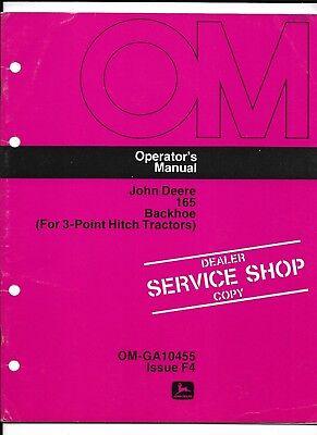 John Deere 165 Backhoe 3-point Operators Manual Om-ga10455