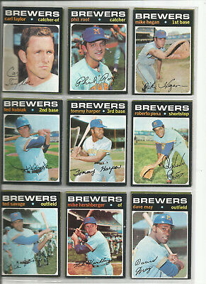 1971 Brewers 25 Harper Kubiak, May, Hegan, Patten  Krausse