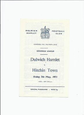 Dulwich Hamlet v Hitchin Town 7 May 1971 Isthmian League Single Sheet