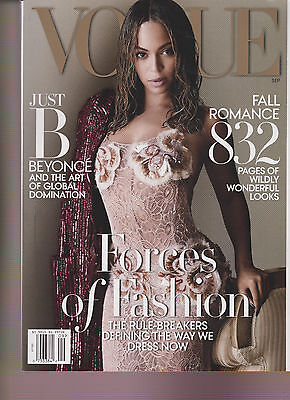 VOGUE MAGAZINE SEPTEMBER 2015, BEYONCE, FORCES OF FASHION, FALL ROMANCE.