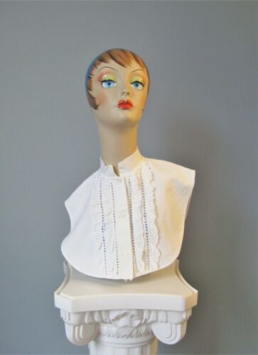 Vintage 1950s Cotton Collar Dickie Ruffles buttons in back