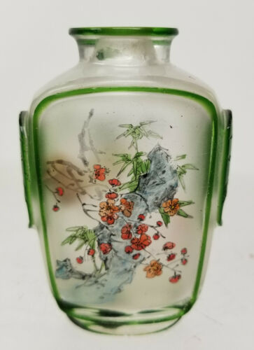 Antique Chinese Carved Cameo Inside Reverse Painted Snuff Bottle Peking Glass