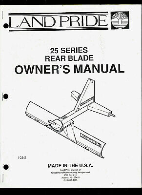 Land Pride 25 Series Rear Blade Illustrated Parts List Owners Manual