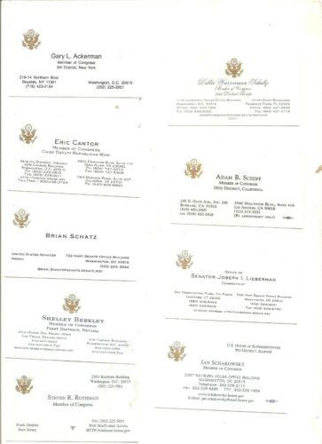 Lot of 9 different Congressional business cards, Schiff, Lieberman +++