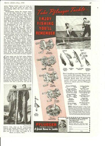 Vintage 1940 PFLUEGER Supreme, Nobby, Medalist REELS + HEDDON Deeper River Runt