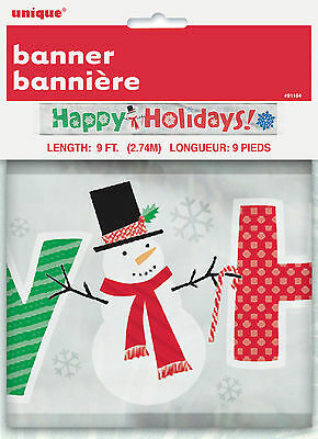 Christmas Happy Holidays Shiny Party Banner Snowman Decoration FREE P&P (Christmas Party Banner)