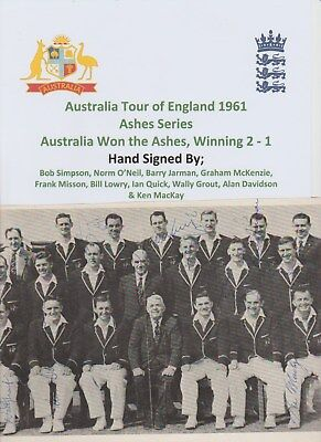 AUSTRALIA CRICKET ASHES 1961 RARE ORIG HAND SIGNED TEAM GROUP 10 X AUTOGRAPHS