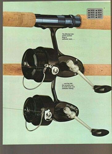 Vintage 1974 GARCIA MITCHELL 302 & 402 + 306 & 406 SPINNING REELS 2-pg Color Ad