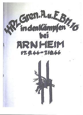 RARE/ARNHEM/50 PAGE PHOTOCOPY/WAFFEN SS PANZER GRENADIER 16 WAR DIARY/WW2/TANK