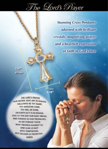 The Lords Prayer Cross Pendant Necklace - 18K Gold Plated (100pcs lot)