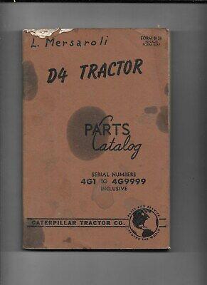 Caterpillar -vintage Caterpillar D4 Tractor Parts Catalog -serial 4g1 To 4g9999