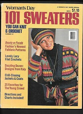 101 Sweaters 10 Vtg 1970s Fashion Knitting Patterns Folk Hippie Child Misses