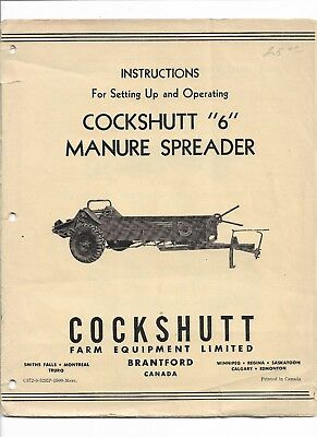 Original Cockshutt 6 Manure Spreader Setting Up Operators Manual C372-9-52rp