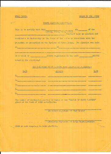 BOY SCOUTS MEMEU LODGE ORDER OF THE ARROW ELECTION CERTIFICATE VINTAGE 1950s