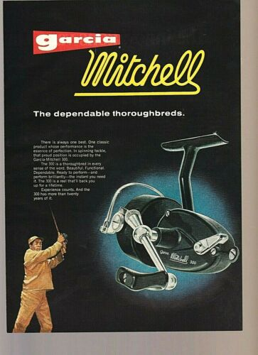 Vintage Original 1969 GARCIA MITCHELL 300 REEL Color Art Fishing Advertisement