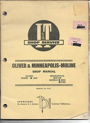 O-26 It Shop Manual For Oliver 2255 And Minneapolis Moline G955 And G1355