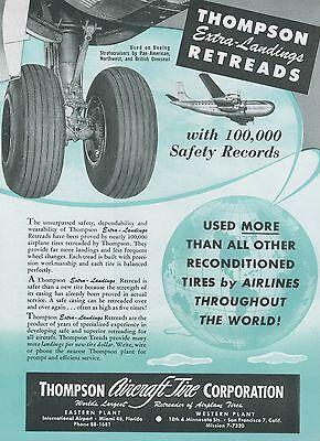 1951 Thompson Aircraft Tire Ad Boeing Stratocruiser Pan Am Northwest Retreads