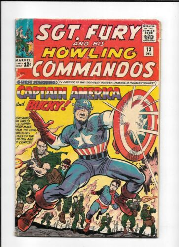 SGT. FURY #13 ==> VG- MARVEL COMICS 1964 CAPTAIN AMERICA