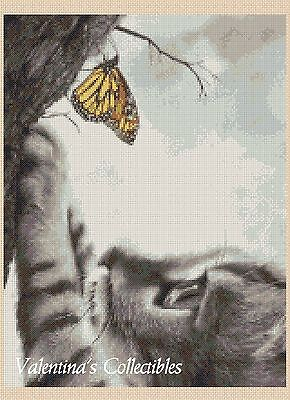 Kitten with Butterfly Counted Cross Stitch COMPLETE KIT No. 2-BW3