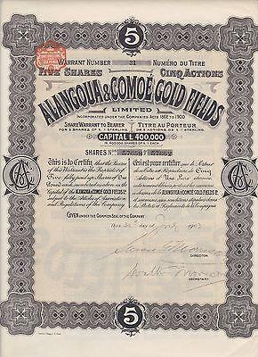 1903 Cote D'Ivoire Alangoua & Comoe Gold Fields Bond Nice