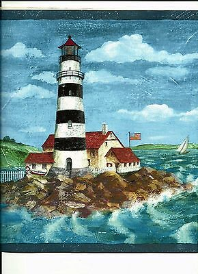 East Coast Lighthouses - LIGHTHOUSE WITH CABIN EAST COAST STYLE WALLPAPER BORDER 59-503