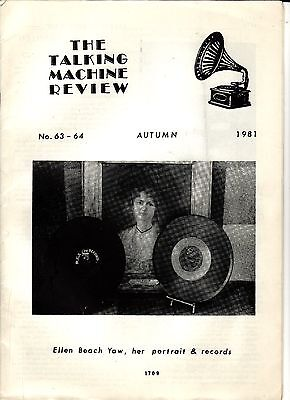 "THE TALKING MACHINE REVIEW MAGAZINE 1981 ELLEN BEACH YAW ""LARK ELLEN"" ARTICLE"