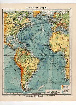 C1930 Antique Map Of The Atlantic Ocean George Philip & Sons