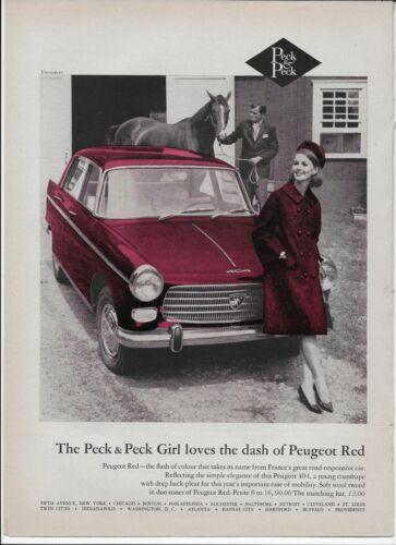 1964 Peugeot 404 Red Peck & Peck Girl Stables Horse Vintage Original Print Ad
