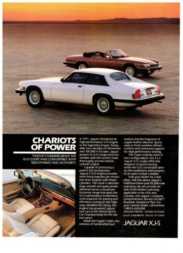 1990 Jaguar XJ-S Chariots of Power Sports Car Coupe Vintage Print Advertisement
